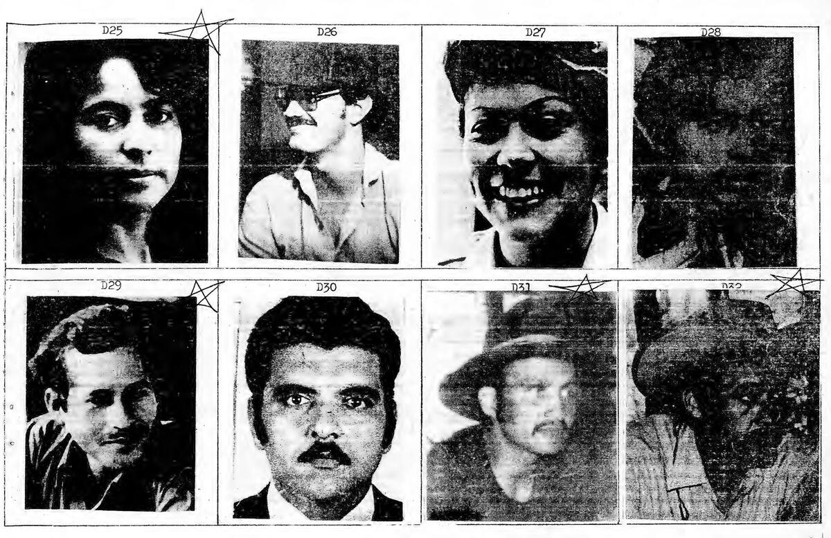 """A page from El Salvador's """"Yellow Book,"""" with photos of civilians marked as potential targets for violence by the military. (Image courtesy of Angelina Snodgrass Godoy.)"""