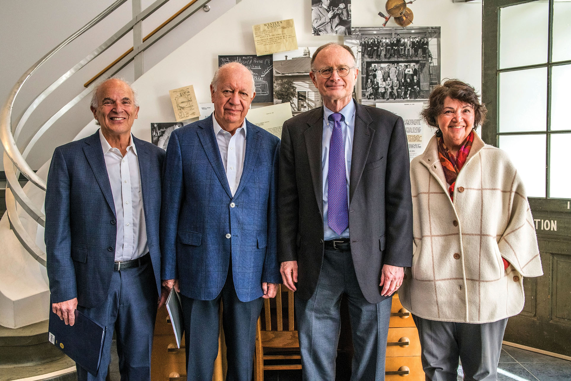 From left: Professor Harley Shaiken, President Ricardo Lagos, Lawrence Berkeley National Laboratory Director Michael Witherell, and Professor Beatriz Manz in January 2018. (Photo courtesy of Lawrence Berkeley National Lab.)