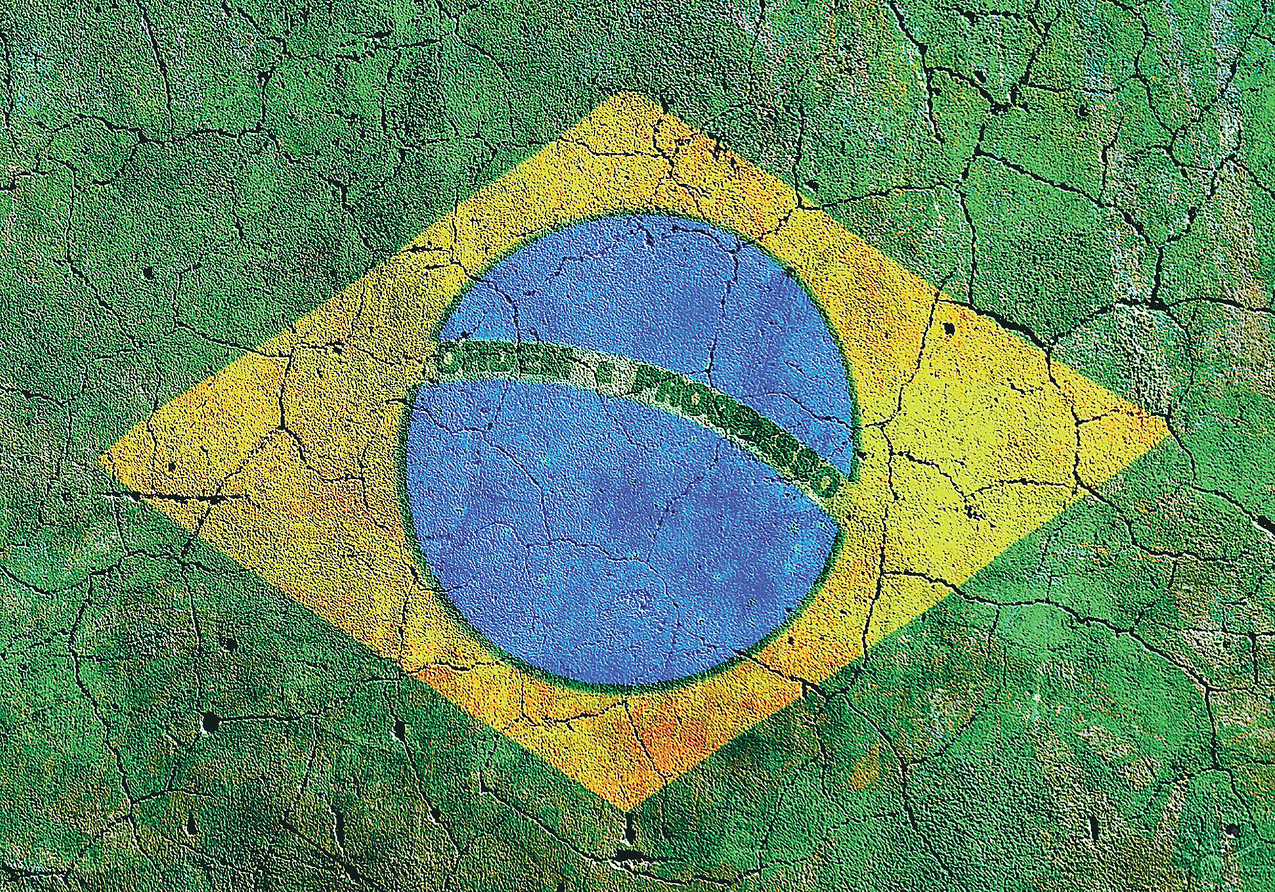 A Brazilian flag painted on a pitted and cracked sidewalk. (Photo by AKRockefeller.)