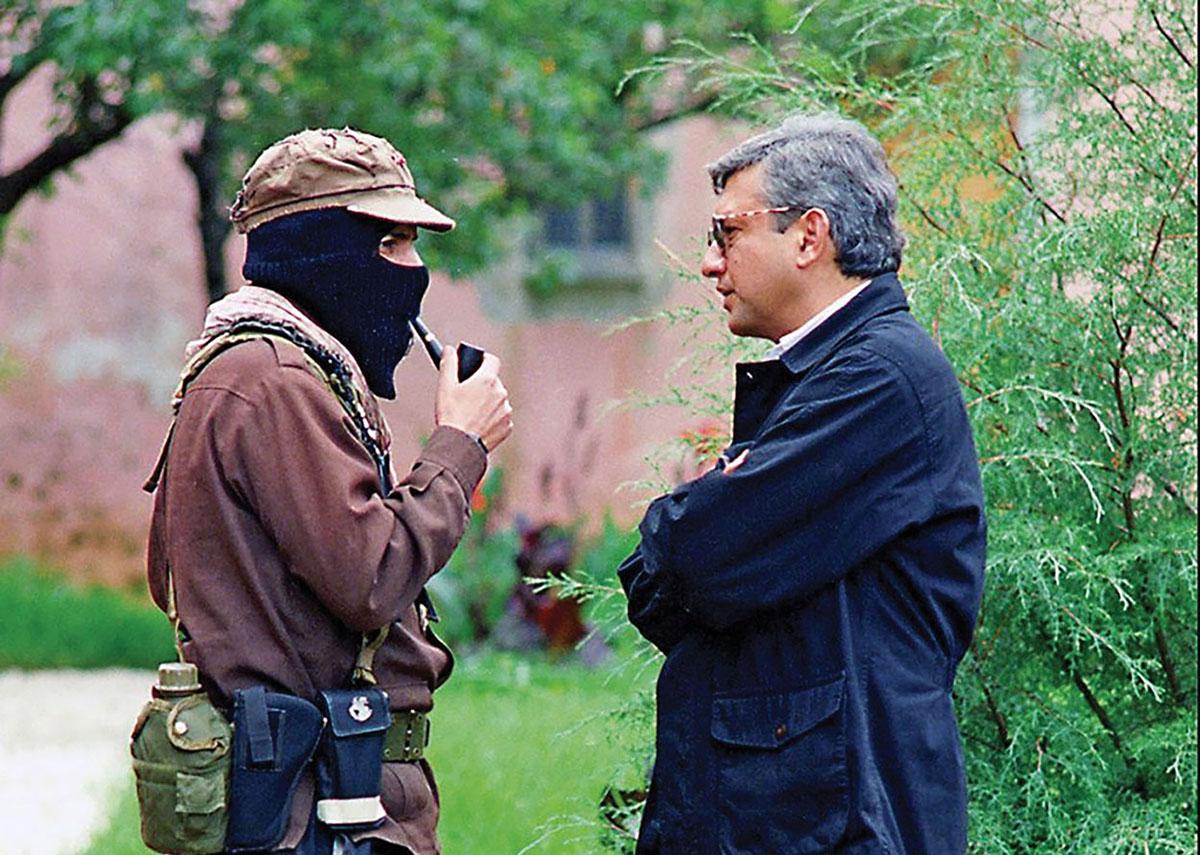 Subcomandante Marcos, Zapatista leader and spokesman, with Andrés Manuel López Obrador in 1996. (Photo from Twitter: @lopezobrador_.)