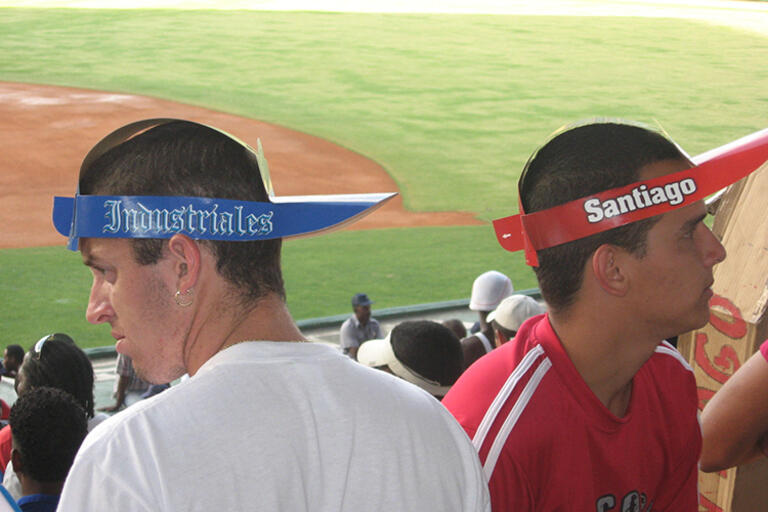 Two men at a baseball match