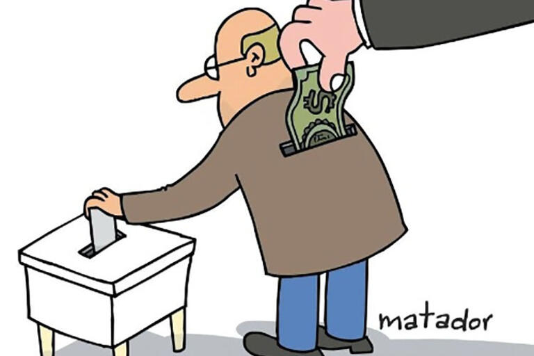 Cartoon by Matador, from the cover of Thad Dunning's book on distributive politics