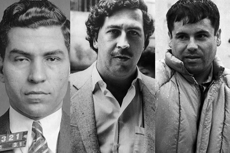 """Black and white portraits of Lucky Luciano, Pablo Escobar, and """"El Chapo"""" Guzmán"""