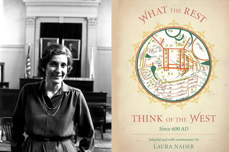 Laura Nader with the cover of one of her books.