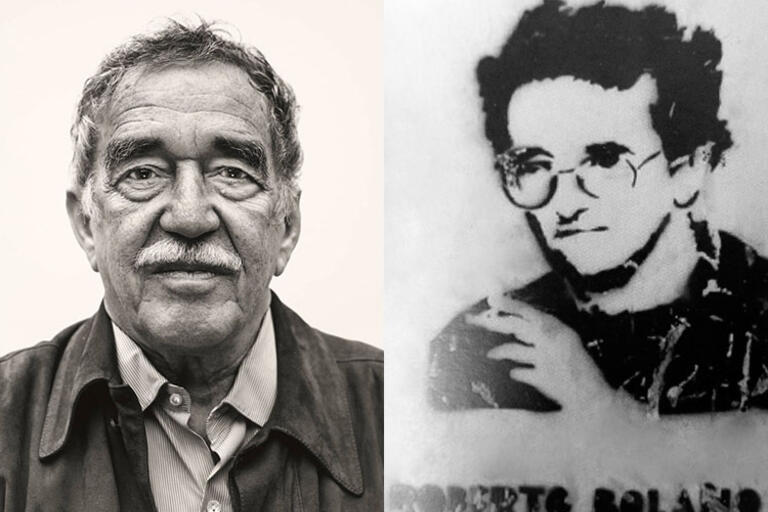Collage image with two photos Gabriel García Márquez and Roberto Bolaño