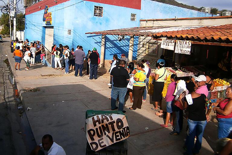 A line outside a food market in Venezuela