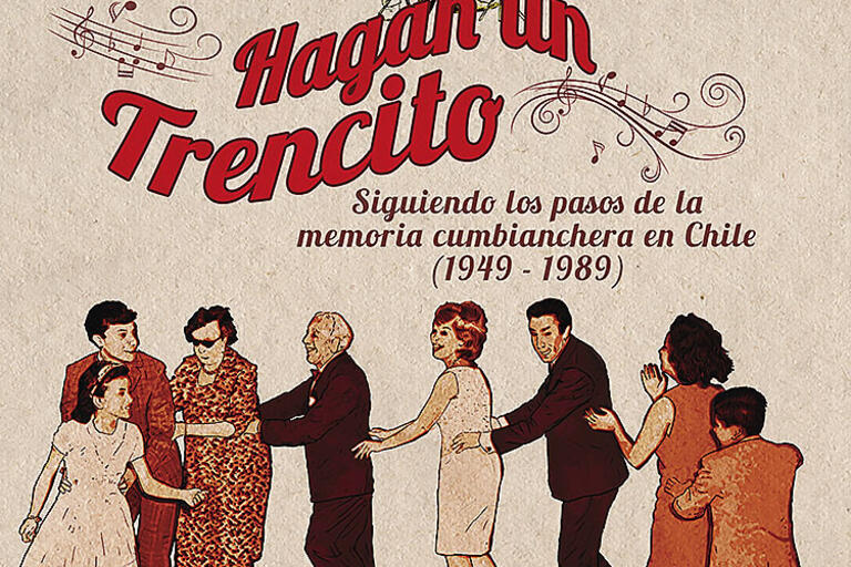 """Cover image from the book """"Hagan un Trencito,"""" a red sketch of people dancing"""