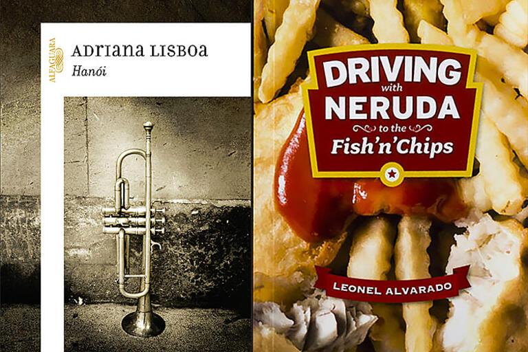 Covers of Adriana Lisboa and Leonel Alvarado's recent books
