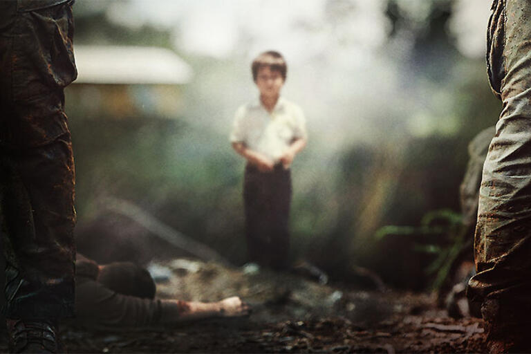 """A boy standing up. Promotional image for """"Finding Oscar"""""""