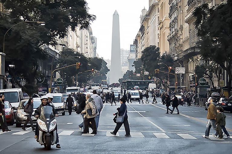 A street scene in Buenos Aires, Argentina. (Photo by Hernán Piñera.)