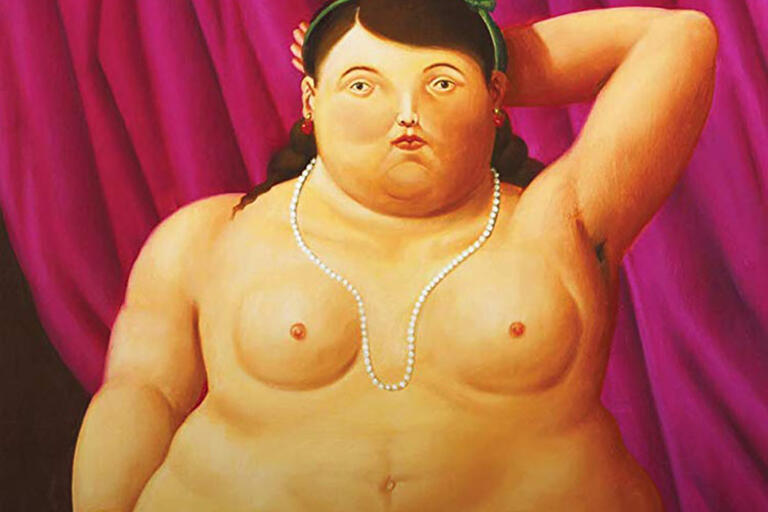 Detail from Fernando Botero's Sitting Woman. Oil on canvas, 134 x 92 cm