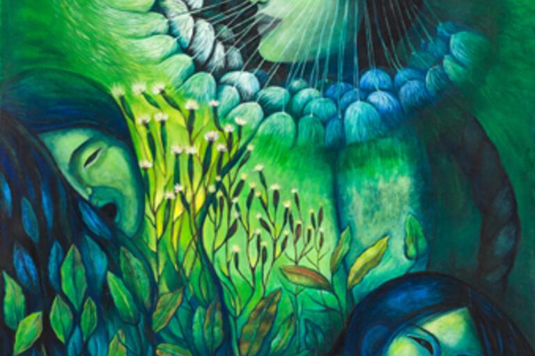 Green painting called Mamala Kilkiña from Valentina Campos