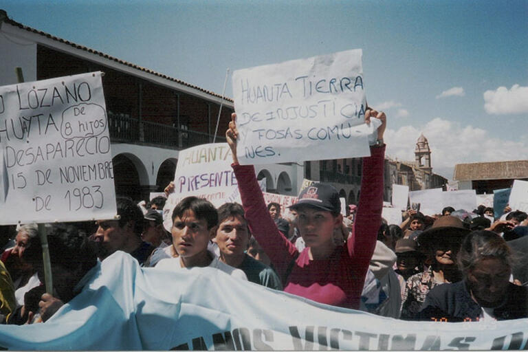 Families of the disappeared demonstrate in Ayacucho, Peru, 2003.