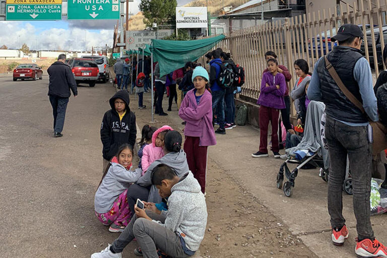A group of migrants kids being assisted by the Kino Border Initiative while waiting in Nogales, Mexico,