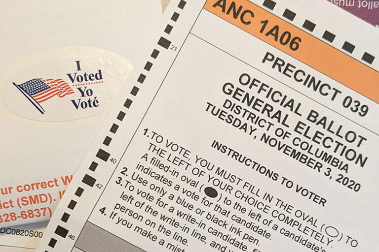 A ballot from the November 2020 U.S. election