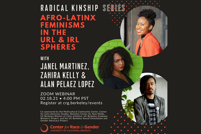 """Promotional image for """"Afro-Latinx Feminisms in the URL & IRL Spheres"""", featuring the speakers."""