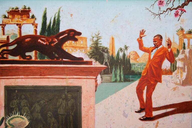 Brightly colored painting of a man responding to a puma statue.