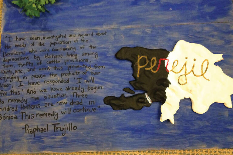 """An art project on genocide features Rafael Trujillo's statement about the start of the killings of Haitians and that """"this remedy will continue."""" (Photo courtesy of Paige Tripp.)"""