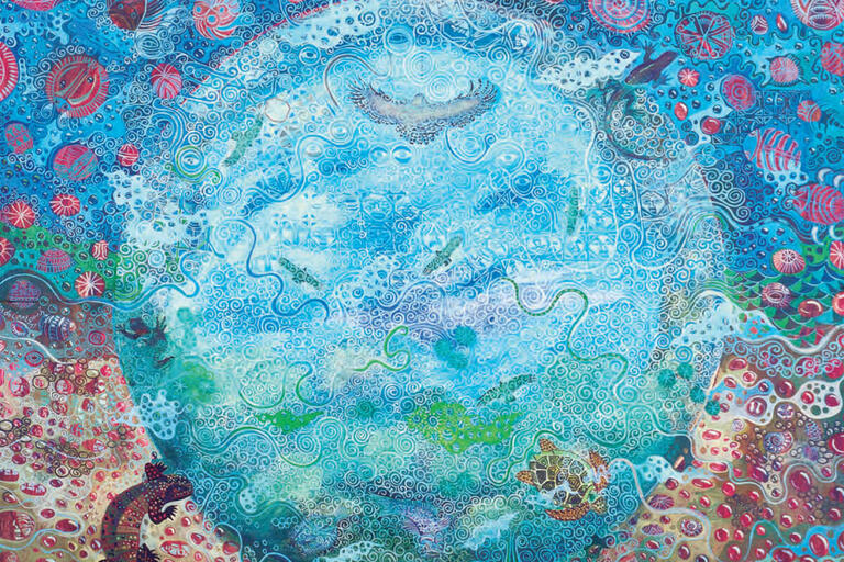 """A hypnotic blue pool centers a painting in this detail from Alfredo Arreguín, """"Cenote"""" (1980), 48 x 48 in., private collection. (Image courtesy of Alfredo Arreguín.)"""