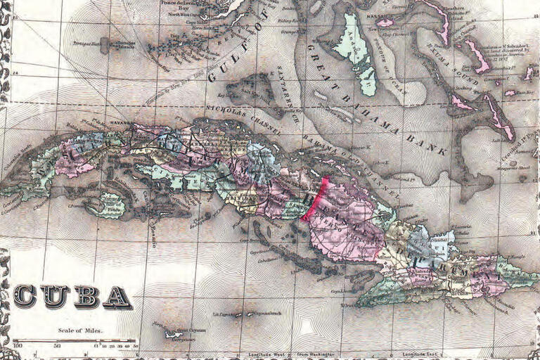 An 1872 map of Cuba with a large red line showing the stark delineation of east and west. (Image from Wikimedia Commons.)