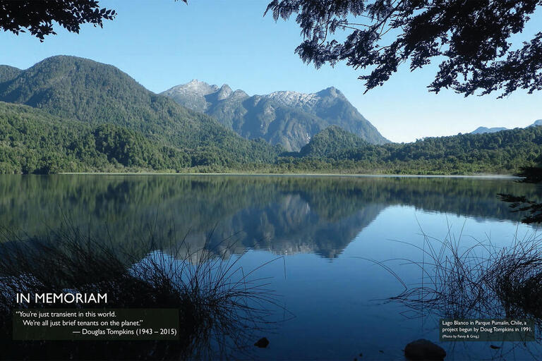 Lago Blanco, a beautiful clear lake reflecting the mountains it nestles among, in Parque Pumalín, Chile, a project begun by Doug Tompkins in 1991. (Photo by Fanny & Greg.)