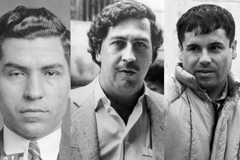 """A triptych of portraits of Lucky Luciano, Pablo Escobar, and Joaquin """"El Chapo"""" Guzmán. (Photos from Wikimedia Commons.)"""