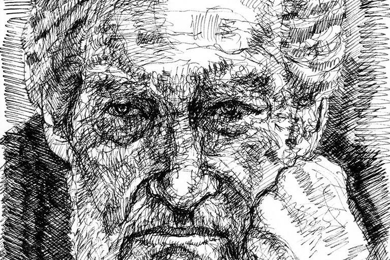 A charcoal drawn portrait of Octavio Paz. (Portrait by Arturo Espinosa.)