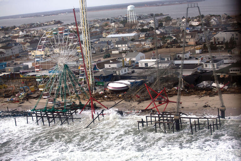 A damaged coastal amusement park seen from an aerial tour of Hurricane Sandy damage to New Jersey's barrier beaches, November 2012. (Official White House Photo by Sonya N. Hebert.)