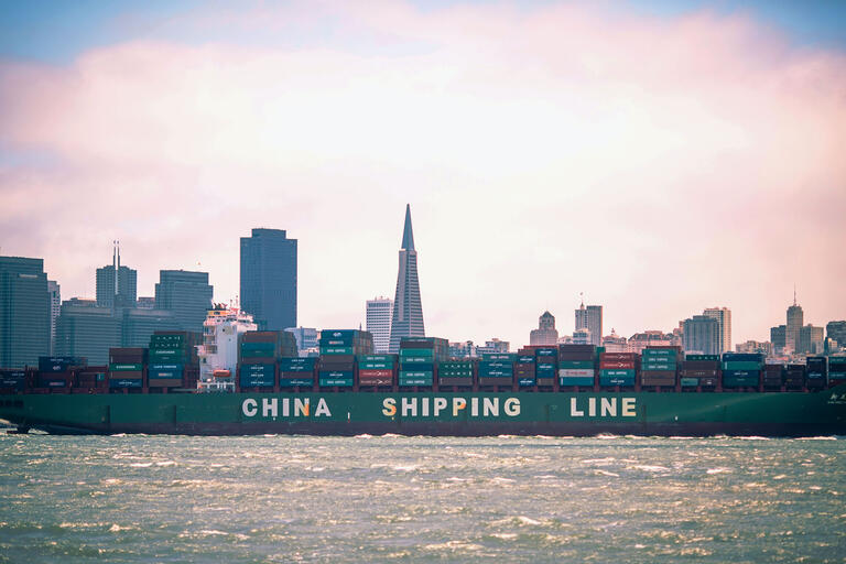 A Chinese container ship in San Francisco Bay: NAFTA negotiators failed to take into account the explosive growth of China's economy. (Photo by Thomas Hawk.)