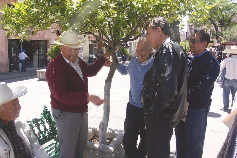 A photo of U.S.–Mexico Futures Forum participants in the field: a visit to Jerez, Zacatecas, Mexico, in 2011.  From center to right: Harley Shaiken, Cuauhtémoc Cárdenas, and Gil Cedillo. (Photo by Dionicia Ramos.)