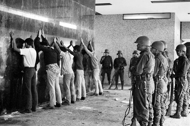 Soldiers line up detained students against a wall in Tlatelolco, October 1968.  (Photo by AP Photo.)