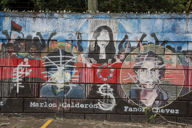 From Jinotepe, Nicaragua: A defaced FSLN mural honoring the heroism of Arlen Siu. July 2, 2018.  (Photo by and © Susan Meiselas/Magnum Photos.)