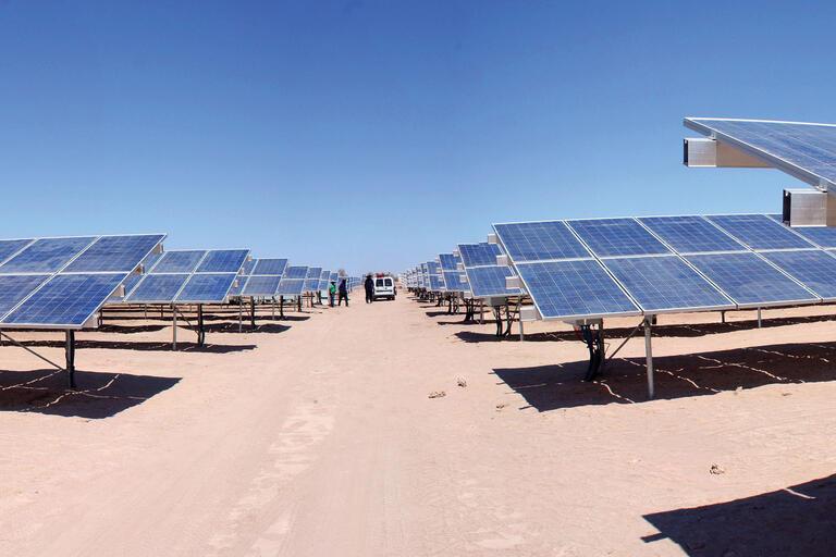 A large solar farm in the Atacama Desert, Tarapacá, Chile. (Photo by zwansaurio.)