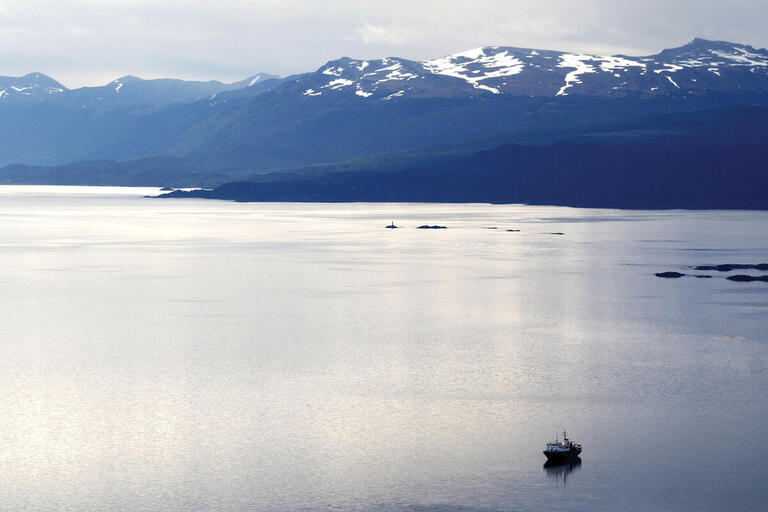 Looking across the Beagle Channel at Isla Navarino, Chile. (Photo by DimitriB.)