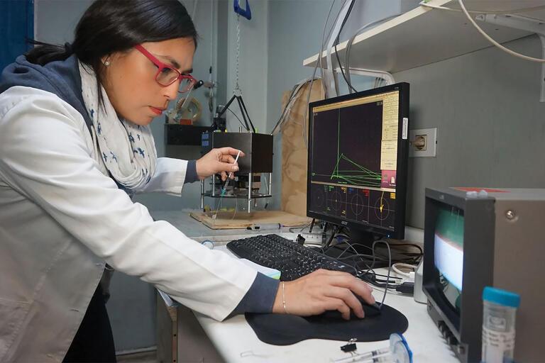 Scientist Francesca Burgos-Bravo working in the author's lab at the Universidad de Chile. (Photo by Nicolás Novoa-Marchant/www.sdpaudiovisual.com.)