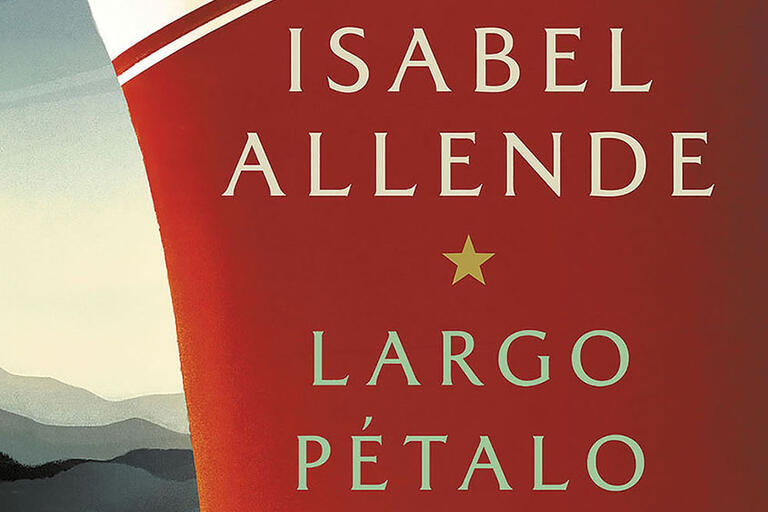The cover for the Spanish-language edition of Isabel Allende's A Long Petal of the Sea.  (Image courtesy of Penguin Random House, LLC.)