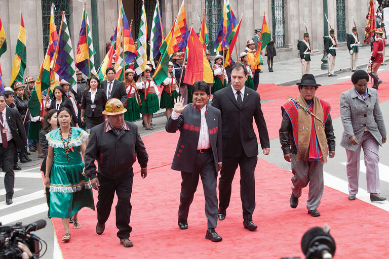 Evo Morales waves to supporters during his third inauguration in January 2015, La Paz, Bolivia. (Photo by David G Silvers / Cancillería del Ecuador.)
