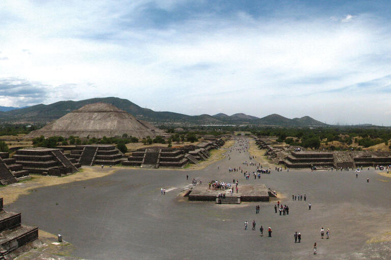 An aerial view of the structures on the Avenue of the Dead and the Pyramid of the Sun at Teotihuacán. (Photo by Oscar Palma.)