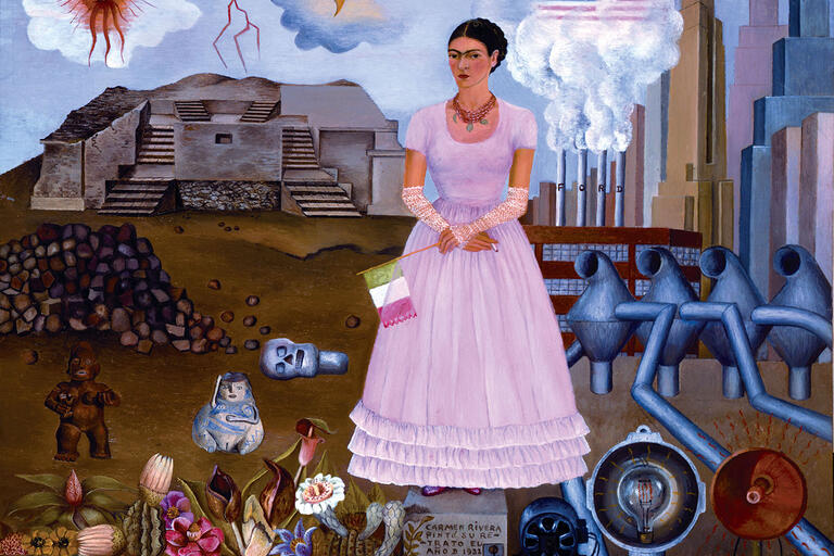 """Frida Kahlo, """"Self-Portrait on the Borderline Between Mexico and the United States,"""" 1932, oil on metal.  (© 2014 Banco de México Diego Rivera Frida Kahlo Museums Trust,  Mexico, D.F. / Artists Rights Society (ARS), New York.)"""