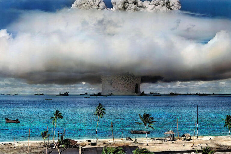 Operation Crossroads Baker nuclear test spreads a huge mushroom cloud at Bikini Atoll in 1946. (Photo from U.S. Department of Defense/Wikimedia.)