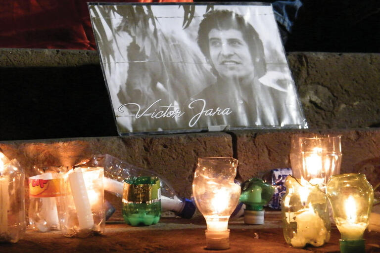 A makeshift memorial to Víctor Jara on the street in Santiago in 2009. (Photo by Ibar Silva.)