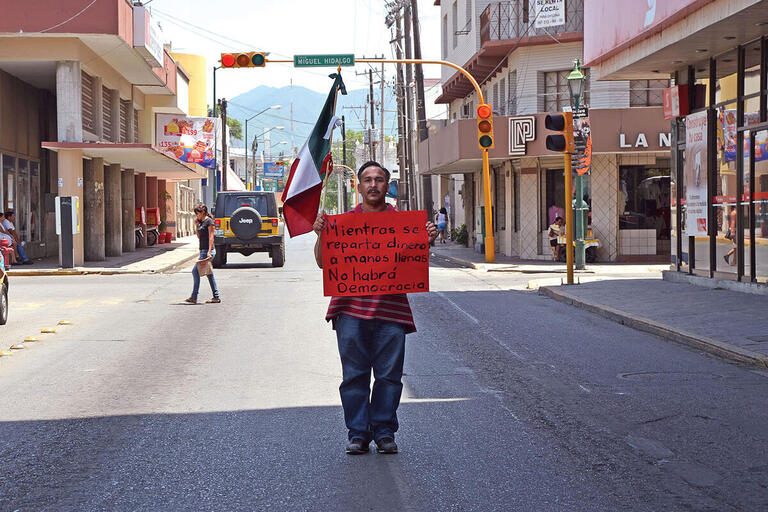 """A demonstrator's sign reads, """"As long as money changes hands, there will be no democracy."""" (Photo by Armando Aguayo Rivera.)"""