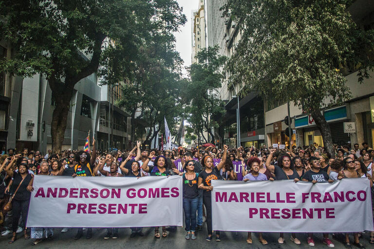 A march after the assassination of Councilwoman Marielle Franco and her driver, Anderson Gomes, Rio de Janeiro, March 2018. (Photo by Mídia NINJA.)