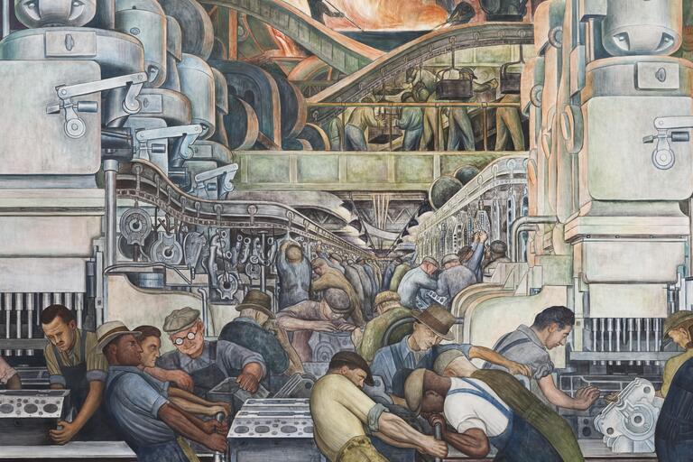 "Diego Rivera, ""Detroit Industry,"" north wall detail, 1932-33, fresco."