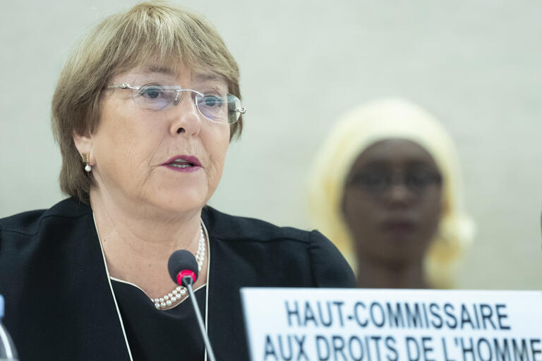 Michelle Bachelet speaks before the United Nations Human Rights Council, September 2018.