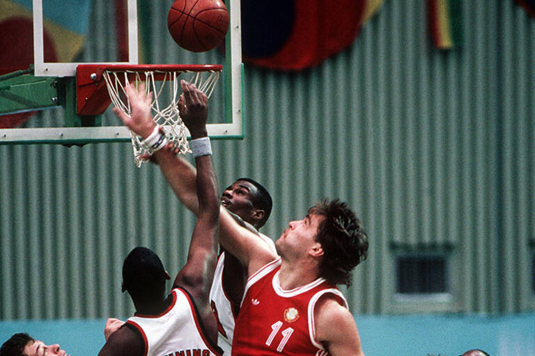 The U.S. and Soviet Union men's basketball game at the 1988 Summer Olympics