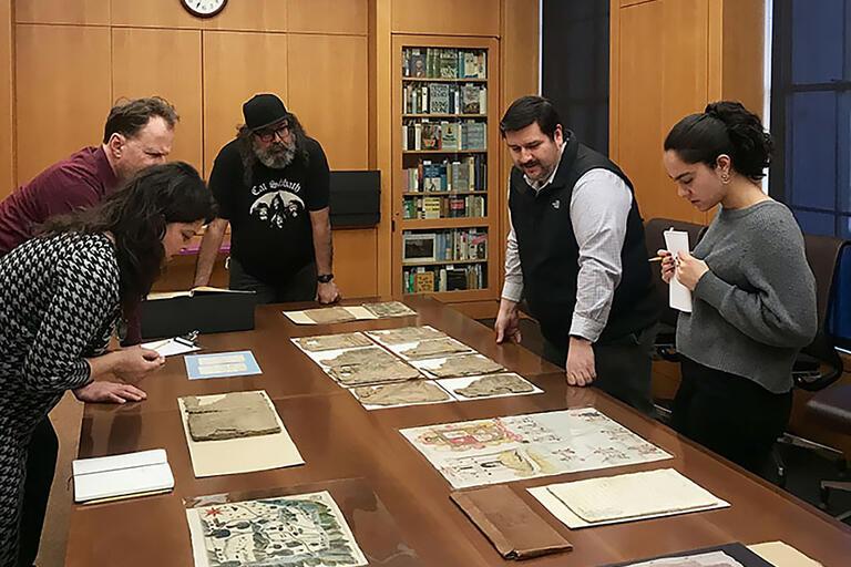 The Latin American Art & Literature Working Group members meet with José Adrián Barragán-Álvarez, Curator of Latin Americana at the Bancroft Library.