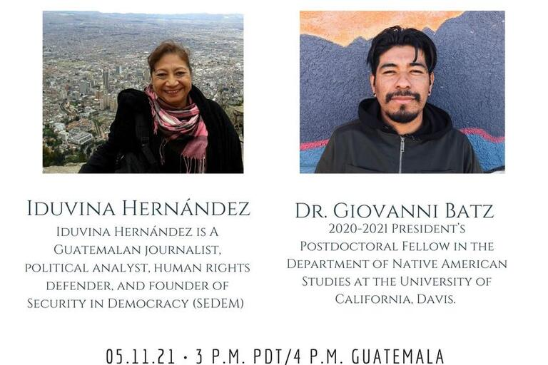 Event's flyer with a photo of Iduvina Hernández and Giovanni Batz