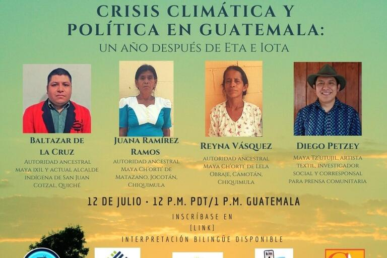 Event's flyer in Spanish, green with photos of the four speakers and logos of the cosponsors at the bottom