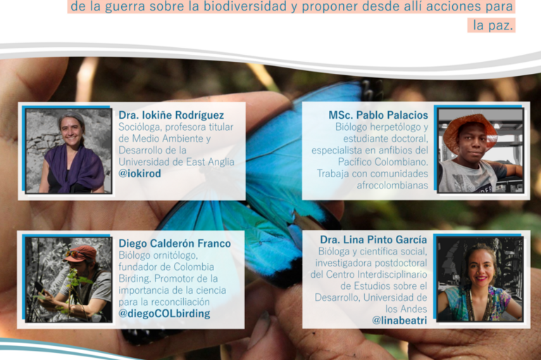 Contruyendo ciencias para la paz flyer in Spanish with photos of the four speakers